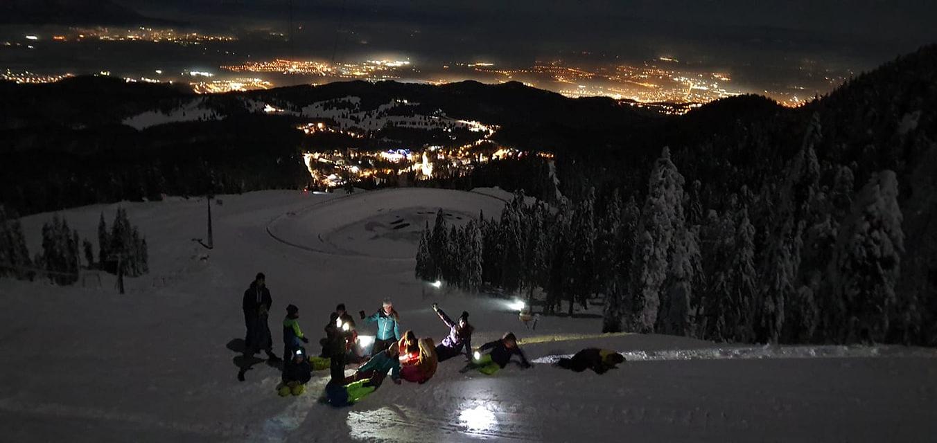 Ski de tură, noaptea în Postăvaru